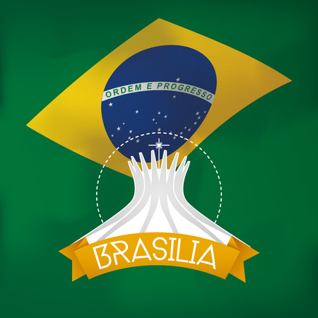brazilian flag: a colored background with the brazilian flag and the cathedral of brasilia