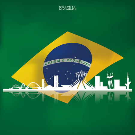 a colored background with the brazilian flag and a cityscape of brasilia Vector