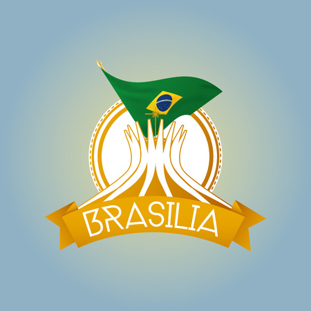 brasilia: an isolated label with brazilian flags and the cathedral of brasilia
