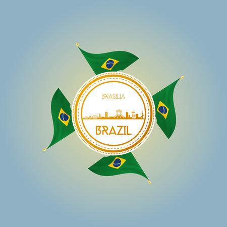 an isolated label with brazilian flags and a cityscape of brasilia Vector