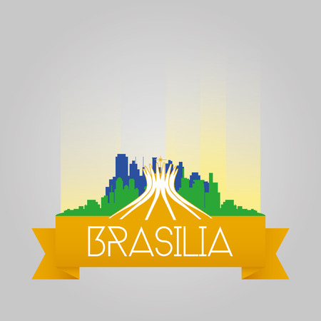 brasilia: an isolated cityscape with the silhouette of the cathedral of brasilia