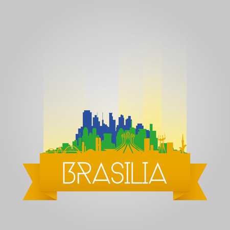 an isolated cityscape with a lot of monuments of brasilia Vector