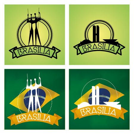 brasilia: a set of labels and backgrounds with famous places in brasilia Illustration