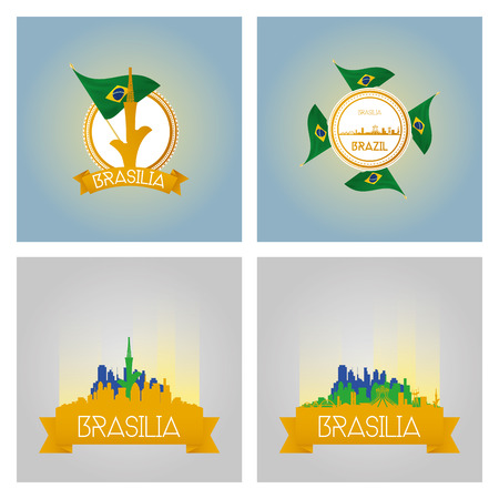 a set of labels and cityscapes with famous places in brasilia Vector