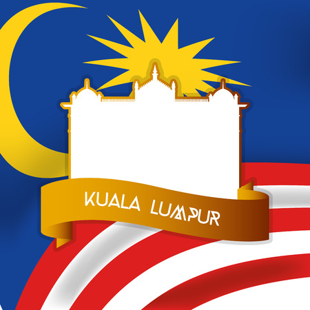 incredible: a colored background with the malaysian flag and the national history museum Illustration