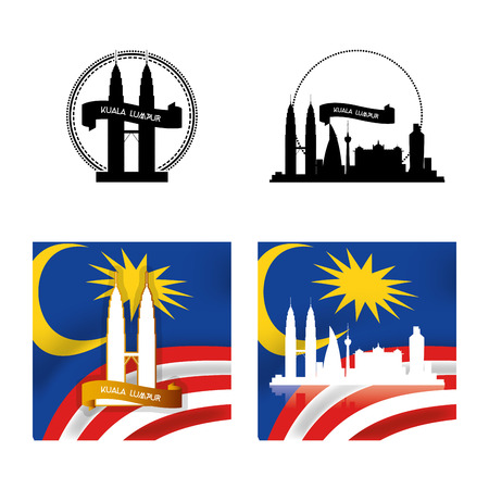 ünlü yer: a set of labels and backgrounds with famous places in kuala lumpur Çizim