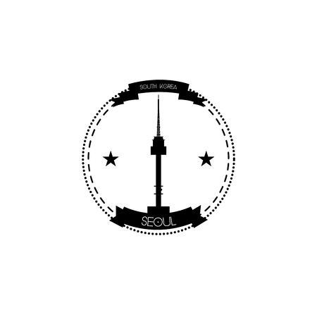 an isolated label with the n seoul tower in south korea