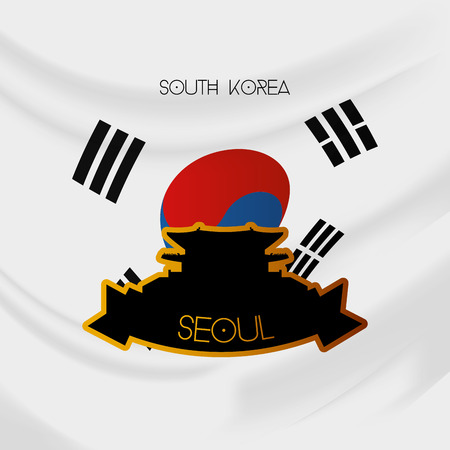 korean flag: a colored background with the south korean flag and the gyeongbokgung palace Illustration