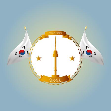 seoul: une �tiquette isol� avec des drapeaux sud-cor�en et la tour n seoul