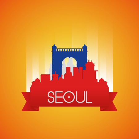 seoul: an isolated cityscape with the independence gate in seoul Illustration