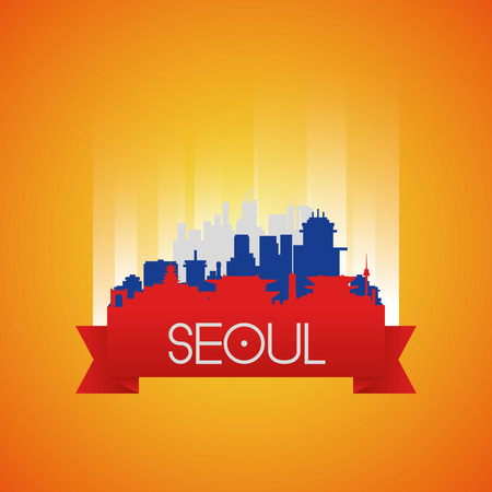 famous places: an isolated cityscape with famous places in seoul Illustration
