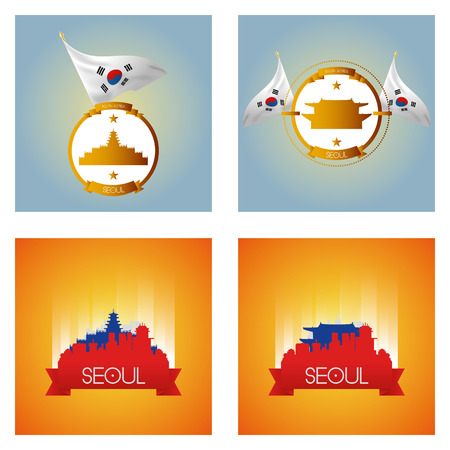 famous places: a set of labels and cityscapes with famous places in seoul Illustration