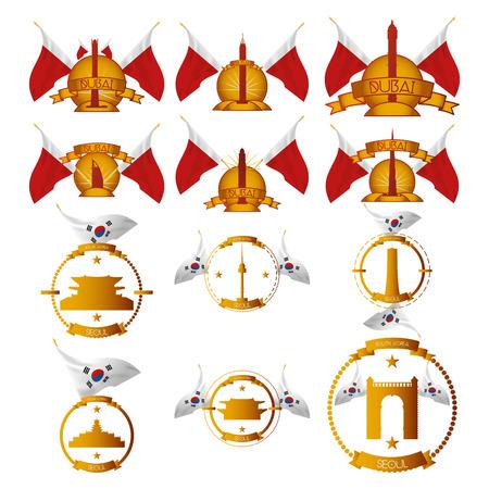 seoul: un ensemble d'�tiquettes avec des drapeaux et des lieux c�l�bres � Duba� et S�oul Illustration