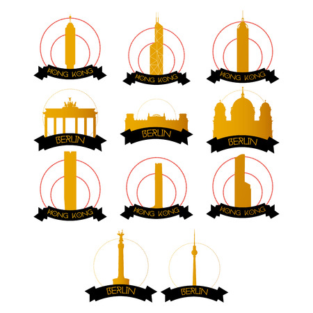 famous places: a set of labels with famous places in hong kong and berlin