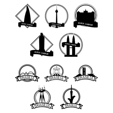 a set of labels with famous places in brasilia and kuala lumpur Vector