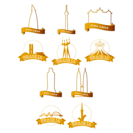 congress: a set of golden labels with famous places in brasilia and kuala lumpur