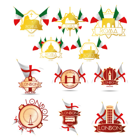 a set of labels with famous places in london and rome Vector