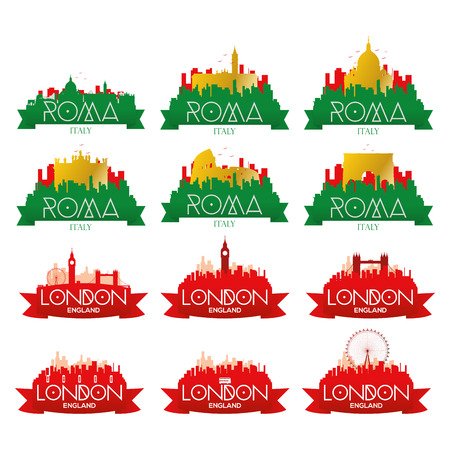 famous places: a set of cityscapes with famous places in rome and london Illustration