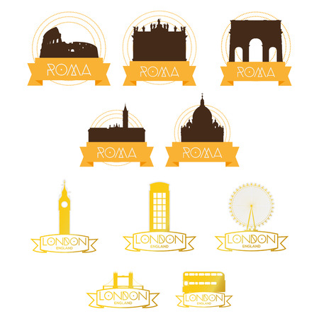 ünlü yer: a set of labels with famous places in rome and london Çizim
