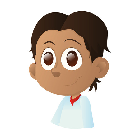 brown eyes: an isolated happy kid with brown eyes on a white background Illustration