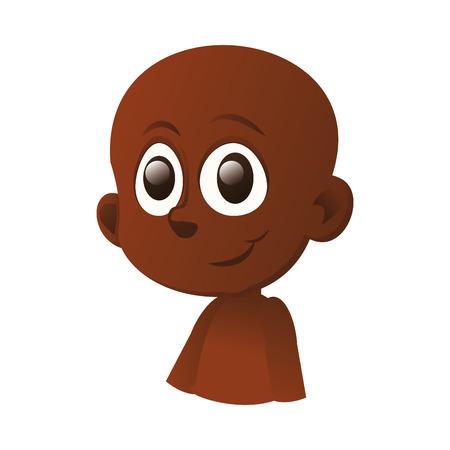 ojos negros: un ni�o feliz aislado negro con ojos negros sobre un fondo blanco Vectores