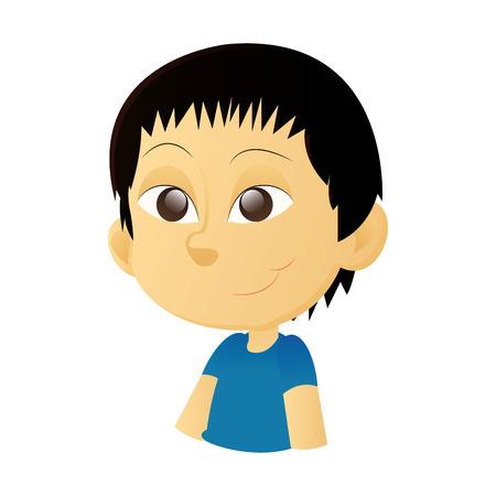 olhos castanhos: um garoto asiático feliz isolado com olhos marrons em um fundo branco Ilustração