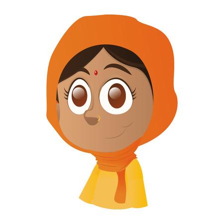 ni�os de diferentes razas: una muchacha india feliz aislado con ojos marrones sobre un fondo blanco Vectores