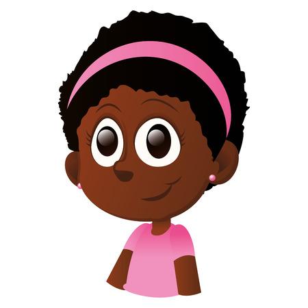 fille noire: une fille heureuse isol� noir avec des yeux noirs sur un fond blanc Illustration