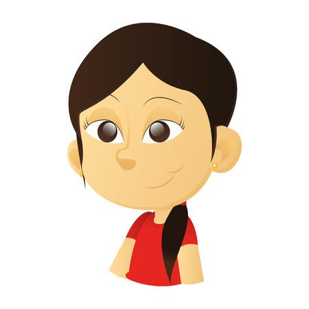 ni�os de diferentes razas: una ni�a feliz asi�tica aislada con ojos marrones sobre un fondo blanco