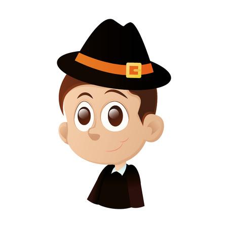 olhos castanhos: um menino feliz isolado com olhos castanhos em um fundo branco Ilustração