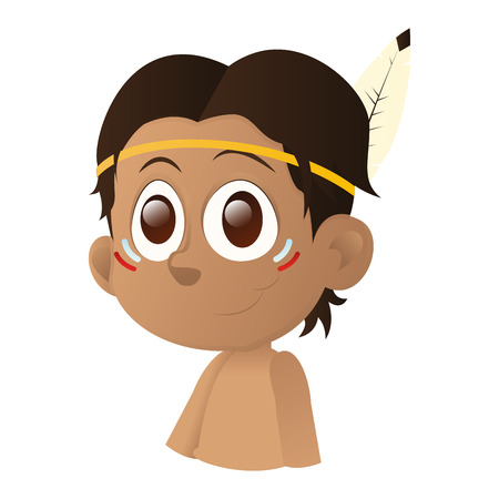 brown eyes: an isolated happy boy with brown eyes on a white background Illustration