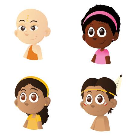 interracial: un conjunto de ni�os y ni�as interraciales felices en un fondo blanco Vectores