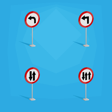 a set of white traffic signals on a blue background Vector