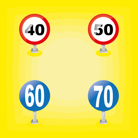 signals: a set of traffic signals on a yellow background