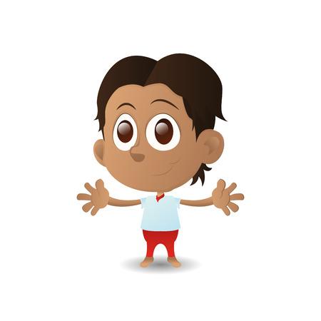 olhos castanhos: um garoto feliz isolado com olhos marrons em um fundo branco