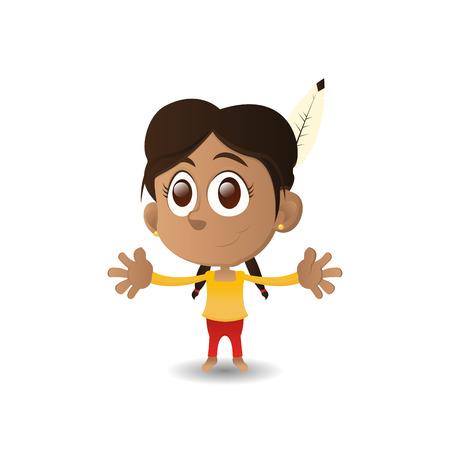 niños de diferentes razas: una niña feliz aislada con ojos marrones sobre un fondo blanco