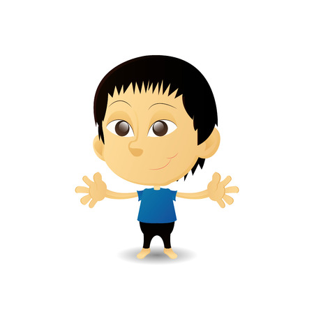asian kid: an isolated happy asian kid with black eyes on a white background