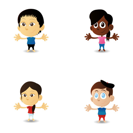 interracial: a set of happy interracial boys and girls on a white background Illustration