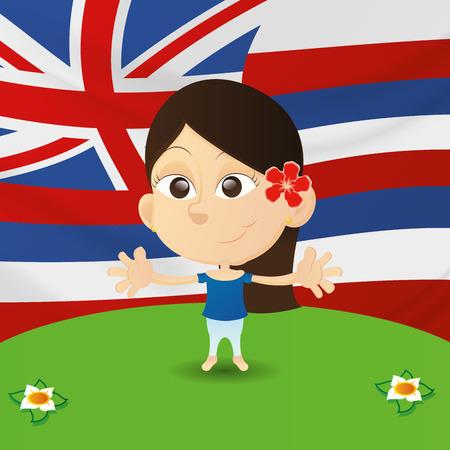niños de diferentes razas: una niña feliz aislados con la bandera del reino unido Vectores
