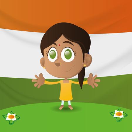 niños de diferentes razas: una muchacha india feliz aislado con la bandera india en el fondo
