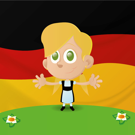 niños de diferentes razas: una niña feliz aislada con la bandera alemana en el fondo