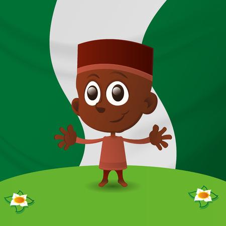niños de diferentes razas: un niño feliz aislado y la bandera de nigeria en el fondo Vectores