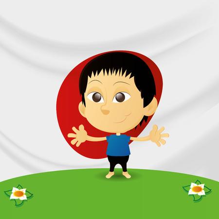 niños de diferentes razas: un niño feliz aislado con la bandera japonesa en el fondo