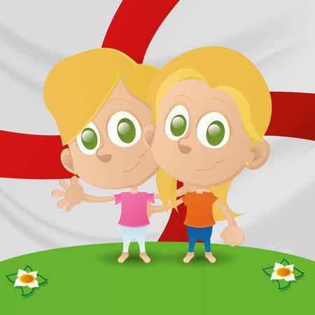 niños de diferentes razas: un par de niños y la bandera de Inglaterra en el fondo
