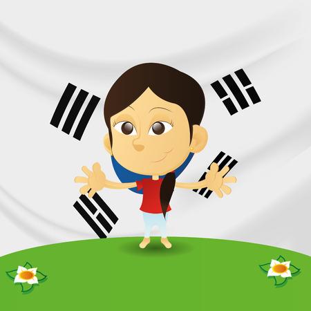 niños de diferentes razas: una niña feliz aislados con la bandera de Corea del Sur en el fondo Vectores