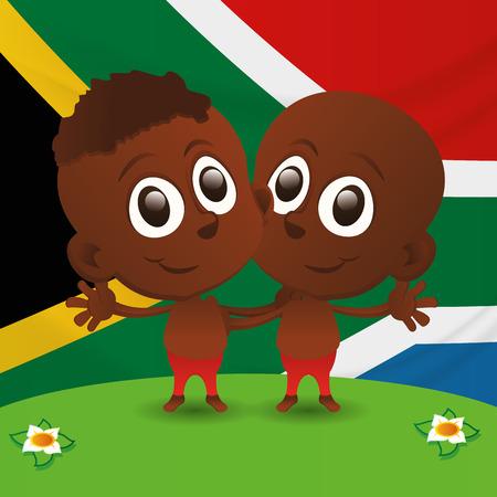 niños de diferentes razas: un par de niños felices y la bandera de Sudáfrica en el fondo