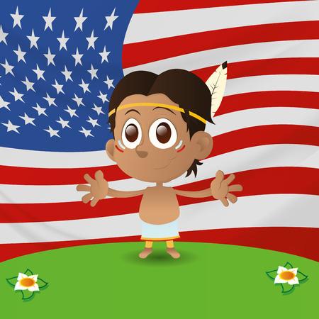niños de diferentes razas: un niño feliz aislado con la bandera americana en el fondo