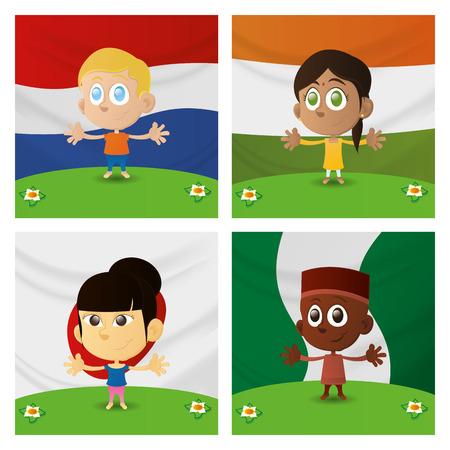 niños de diferentes razas: un conjunto de niños felices con diferentes banderas en los fondos Vectores