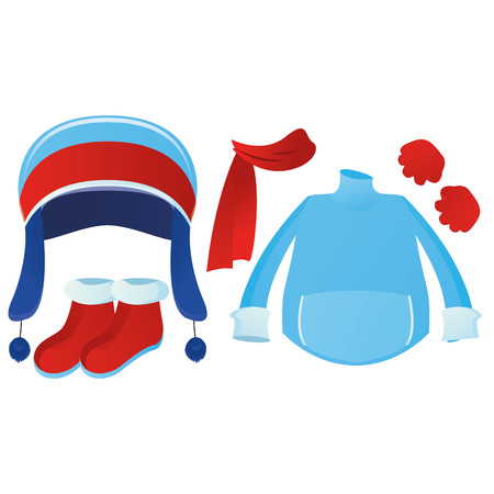 winter clothes: a set of winter clothes on a white background Illustration