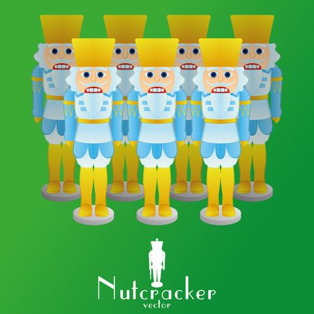 a set of nutcracker soldiers on a green background Vector